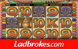 Player wins GBP75,000 on Mega Moolah Isis game at Ladbrokes Casino