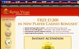 $1,200 is being given away at Royal Vegas to new players